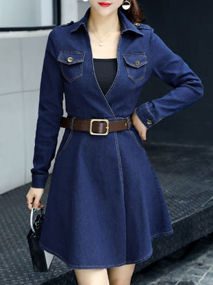 Picture of Women's Denim Dress Belt Pocket A Line Solid Color Dress - 3XL