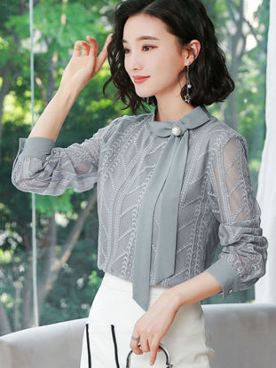 Picture of Women's Blouse Loose Lace Hollow Out Long Sleeve Top - XL