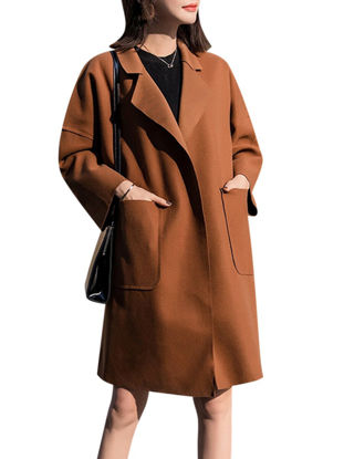 Picture of Women's Blend Long Open Front Solid Color Notched Collar Outerwear - M