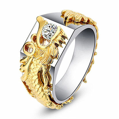 Picture of Men's Ring Patchwork Dragon Pattern Fashion Accessory - 9