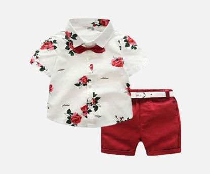 Picture of Boy's 2Pcs Set Turn Down Collar Flower Print Short Sleeve Shirt Casual Shorts