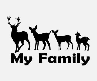 Picture of Car Sticker Family Sika Deer Designed Cartoon Creative Vinyl Decal