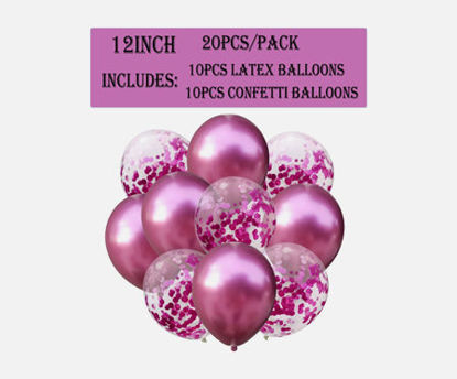 Picture of 20Pcs Latex Balloons And Confetti Balloons Set For Bridal Shower Birthday Wedding Party Decoration