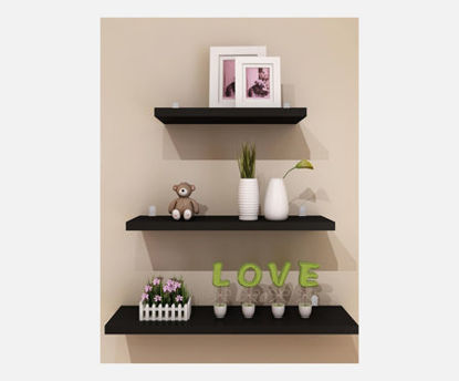 Picture of 3Pcs Wall Shelves Set Simple Style Home Book Shelves Sundries Holder Home Wall Decor - One Size