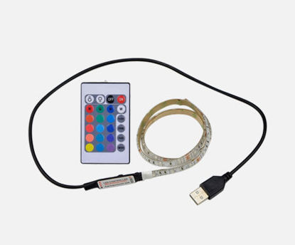 Picture of DC5V 6W 0.5M 30 LEDs RGB Strip Light with Remote Control USB Powered Operated Brightness Adjustable Light String