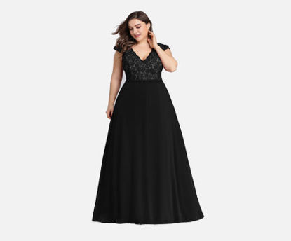 Picture of Ever-Pretty Women's Plus Size Dress Solid Color V Neck Short Sleeve Dress - 8XL