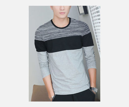 Picture of Fashion O Neck Stripe Color Block Long Sleeve Men's T Shirt