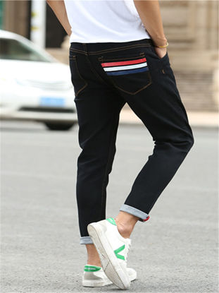 Picture of Men's Jeans Striped Brief All Match Comfy Denim Pants -Size: 36