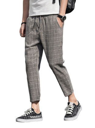 Picture of Men's Casual Pants Plus Size Pocket Checkered Pattern Stylish Cozy All Match Breathable Pants -Size: XXL
