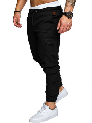 Picture of Men's Casual Pants Top Fashion Sports Style Elastic Waist Solid Color Pants -Size: XXL