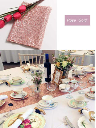 Picture of Premium Quality Glitz Sequin Table Runner/Table Topper for Birthday Party/Banquet Decor -Size: L