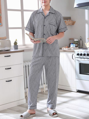 Picture of Men's Pajama Set Notched Collar Short Sleeve Casual Home Suit -Size: XL
