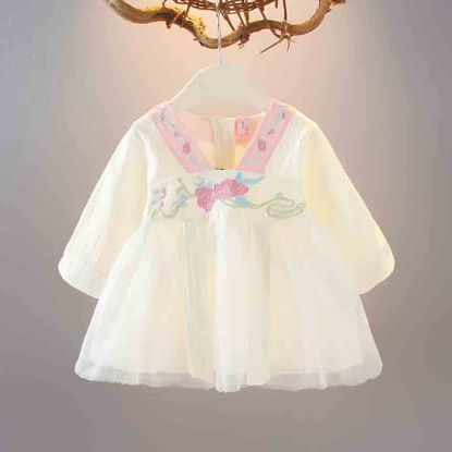 Picture of Baby Girl's Pleated Dress Chinese Retro Style Embroidery Dress -Size: Reference Height:100cm