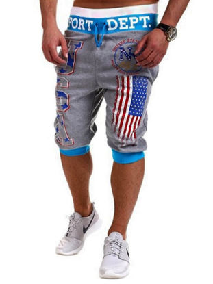 Picture of Men's Shorts Print Color Block Drawstring Tight Cuffs Cropped Pants - Size: XXL