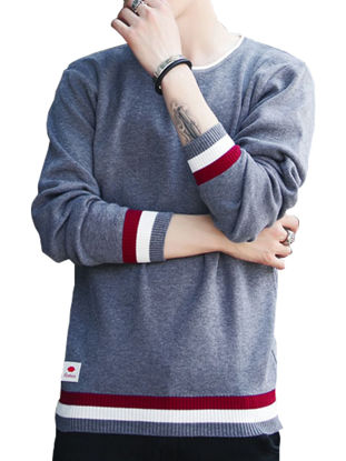 Picture of Men's Pullover Color Blocking All Match Chic Pullover - Size: L
