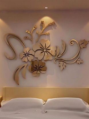 Picture of Wall Sticker 3D Flower Creative Living Room Mirror Wall Sticker - Size: 80*60(W*L)CM