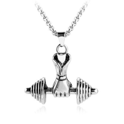 Picture of Men's Necklace Creative Dumbbell Shape Pendant Accessory - Size: One Size