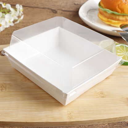 Picture of 10 Pcs Sandwich Boxes Transparent Square Baking Packaging Box - Size: One Size