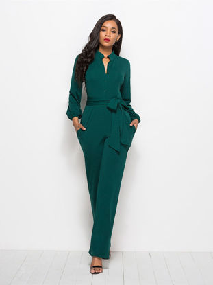 Picture of Women's Jumpsuit Long Sleeve Solid Color Fashion Jumpsuit - Size: M
