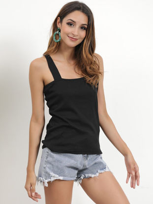 Picture of Women's Tank Solid Color Sleeveless Square Collar Top - Size: XL