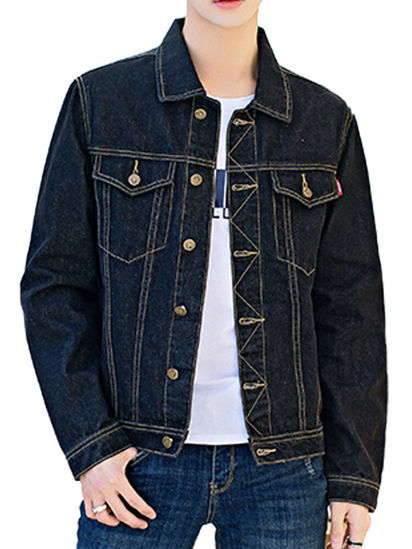 Picture of Men's Denim Jacket Turn Down Collar Long Sleeve Button Jacket - Size: M