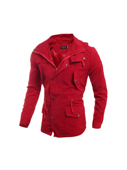 Picture of Men's Coat Casual Hooded Slim Solid Color Fashion Comfort Coat - XL
