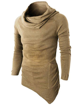 Picture of Men's Sweater Solid Color Chic Hoodie Sweater - XXL