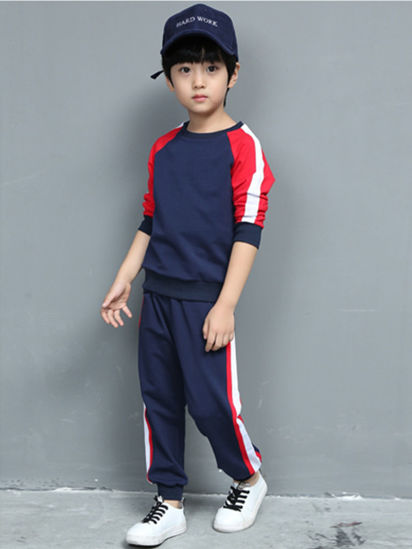 Picture of Toddler Boys 2 Pcs Boy's Pants Set Raglan Sleeve Sweatshirt And Pants Casual Set - Reference Height:105cm