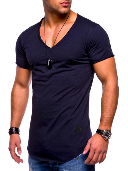 Picture of Men's Fashion T Shirt V Neck Short Sleeve Solid Color Slim Casual Tee - L