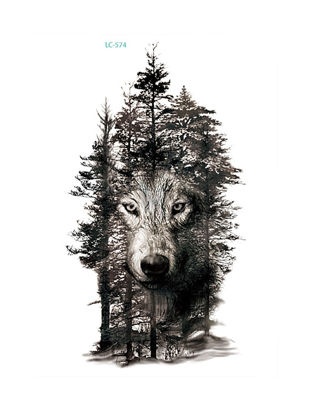 Picture of Tattoo Sticker Fashion Cool Wolf Pattern Design Men's Chic Accessory - One Size
