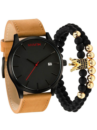 Picture of 3Pcs Men's Fashion Watch Sporty Pointer Display Trendy Watch With A Bracelet Set - One Size