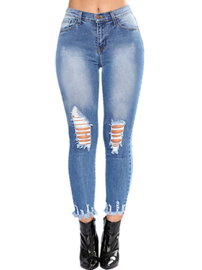 Picture of Women's Jeans Holes Decoration Ladylike Personalized Faddish Pants - M