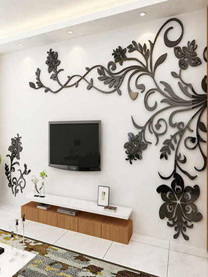 Picture of 1Pc 3D Acrylic Wall Sticker Simple Modern Style Flower Home Bedroom Living Room Wall Decal - One Size