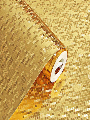 Picture of Glitter Mosaic Wallpaper Light Reflect Gold Foil Bedroom Living Room Wall Paper