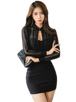Picture of Women's Sheath Dress Fashion Long Sleeve Hollow out Dress - M