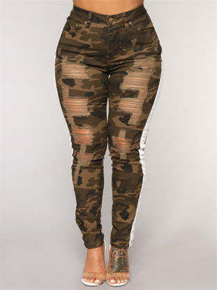 Picture of Women's Leggings Camouflage Frayed Striped Pants - L