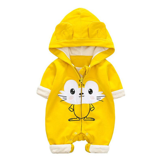 Picture of Baby's Romper Cartoon Lovely Cat Pattern Zippered Casual Hooded Jumpsuit - 66cm