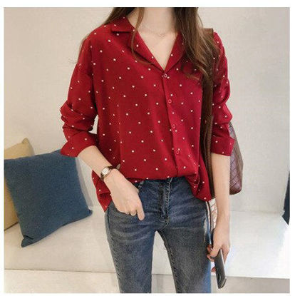 Picture of Women's Shirt Polka Dot Notched Collar Long Sleeve Loose Top - M