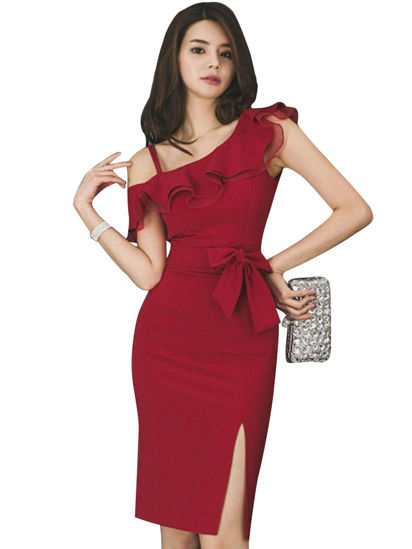 Picture of Women's Sheath Dress Solid Split Sloping Neck Dress - M