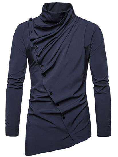 Picture of Men's Shirt Asymmetrical Solid Color Long Sleeve Top - XL
