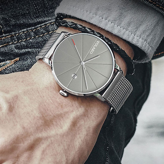Picture of Men's Fashion Watch Ultra Thin Dial Business Calendar Watch Accessory - One Size