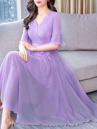 Picture of Women's Aline Dress V Neck Flare Sleeve Solid Color Maxi Long Dress - XL