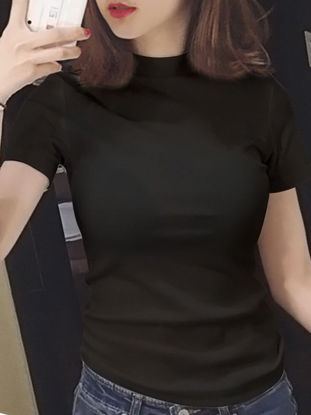 Picture of Women's T Shirt Slim Casual Solid Collar Top - L
