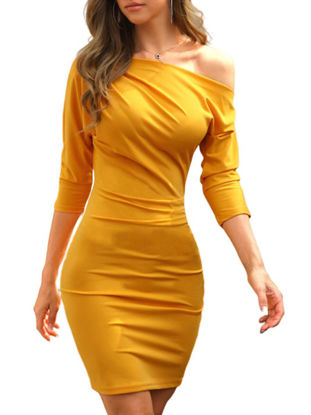 Picture of Women's Pencil Dress Sloping Neck Solid Color Ruffles Dress - S