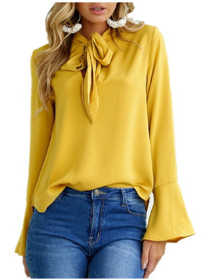 Picture of Women's Blouse Solid Color Flare Sleeve Bandage Plus Size Casual Top - Size: L