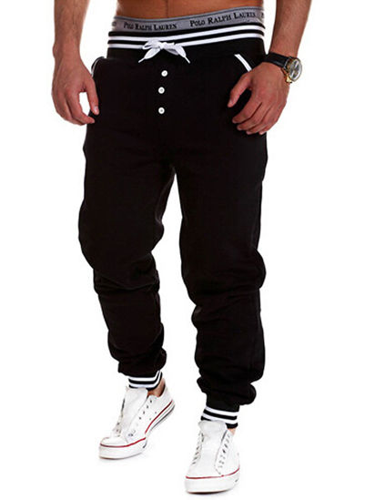Picture of Men's Casual Pants Color Block Comfy Fashion Drawstring Waist Stylish Pants - Size: L