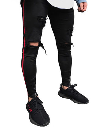 Picture of Men's Jeans Frayed Design Zipper Solid Color Pocket Casual Street Fashion Jeans - Size: 32