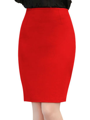 Picture of Women's Plus Size Skirt High Waist Solid Color Mini Pencil Skirt - Size: 5XL