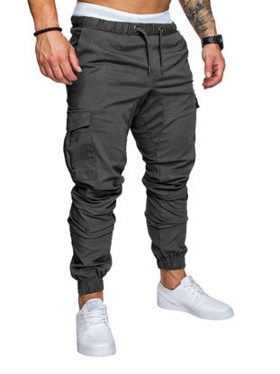 Picture of Men's Casual Pants Top Fashion Sports Style Elastic Waist Solid Color Pants - Size: XL