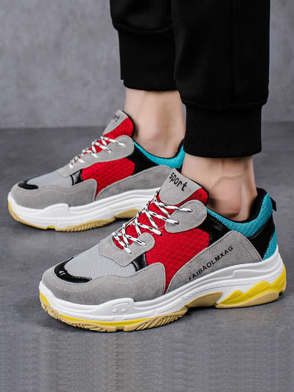 Picture of Men's Sports Fashion Shoes Color Block Casual Anti-skidding Shoes - Size: 42